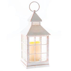 Aube lámpás elemes LED gyertyával 10 x 23,5 cm, fehér
