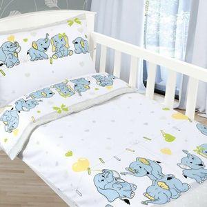 Bellatex Agáta Kiselefántok gyermek pamut ágynemű, 90 x 135 cm, 45 x 60 cm