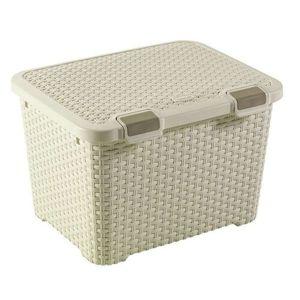 Curver Rattan style tároló doboz 43 l, krém