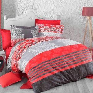 Kvalitex Delux Stripes pamut ágyneműhuzat piros, 220 x 200 cm, 2 db 70 x 90 cm