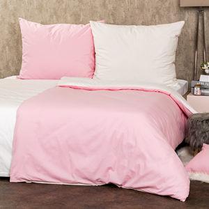 Doubleface pamut ágynemű, tejszín/rózsaszín, 220 x 200 cm, 2 db 70 x 90 cm, 220 x 200 cm, 2 db 70 x 90 cm