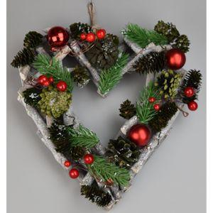 Green pine karácsonyi felakasztható szív, 23 x 24 cm