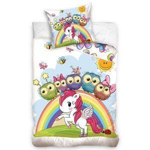 Gyerek pamut ágyneműhuzat kiságyhoz Unicorn, 100 x 135 cm, 40 x 60 cm