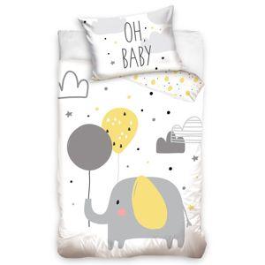 Gyermek pamut ágynemű kiságyba Elefánt és lufik, 100 x 135 cm, 40 x 60 cm