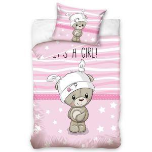 Gyermek pamut ágynemű kiságyba Kedvenc  Mackó, rózsaszín, 100 x 135 cm, 40 x 60 cm