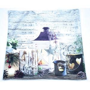 Gyertyatartók karácsonyi párnahuzat, 40 x 40 cm
