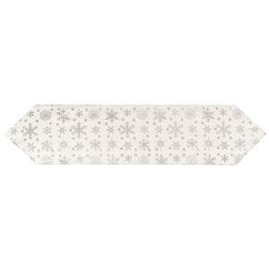 Hópehely karácsonyi asztali futó, ezüst, 32 x 140 cm