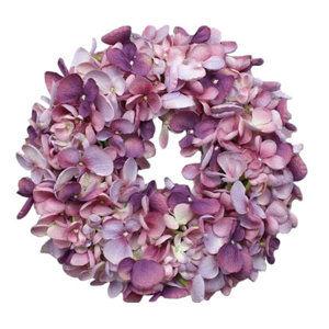 Hortenzia műkoszorú, lila, átmérő: 24 cm