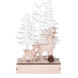 Karácsonyi fa LED dekoráció Szarvas az erdőben, 11 x 5 x 18,2 cm