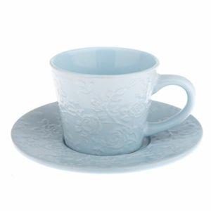 Kerámi csésze és csészealj  kék virág, 220 ml