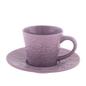 Kerámi csésze és csészealj  lila virág, 220 ml