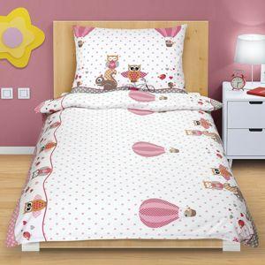 Kisbagoly pamut ágynemű, rózsaszín, 140 x 200, 70 x 90 cm
