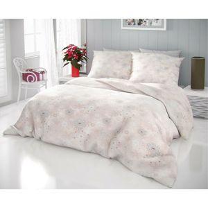 Kvalitex Hópelyhek pamut ágynemű, bézs, 140 x 200 cm, 70 x 90 cm