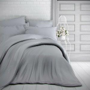 Kvalitex Stripe szatén ágynemű, világosszürke, 200 x 200 cm, 2 db 70 x 90 cm, 200 x 200 cm, 2 ks 70 x 90 cm
