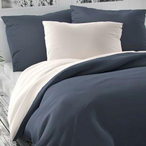 Luxury Collection szatén ágynemű, fehér/sötétszürke, 220 x 200 cm, 2 db 70 x 90 cm, 220 x 200 cm, 2 db 70 x 90 cm