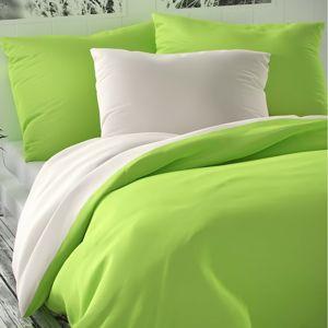 Luxury Collection szatén ágynemű, fehér/világoszöld, 140 x 220 cm, 70 x 90 cm, 140 x 220 cm, 70 x 90 cm