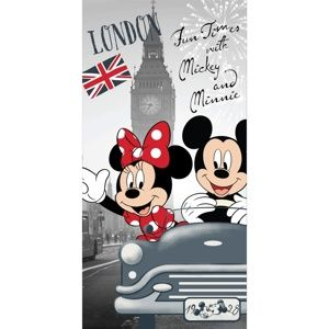 Mickey and Minnie in London törölköző, 70 x 140 cm