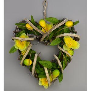 Narcis húsvéti rattan szív, 22 x 23 cm