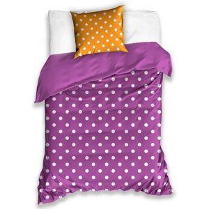 Pöttyök pamut ágynemű, lila, 140 x 200 cm, 70 x 90 cm