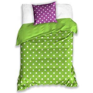 Pöttyök pamut ágynemű, zöld, 140 x 200 cm, 70 x 90 cm