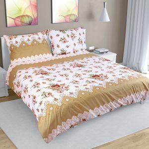 Rózsa pamut ágynemű, barna, 240 x 200 cm, 2 db 70 x 90 cm, 240 x 200 cm, 2 db 70 x 90 cm