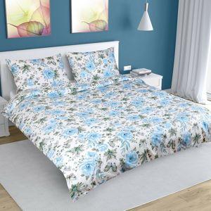 Rózsa pamut ágynemű, kék, 200 x 220 cm, 2 db 50 x 70 cm