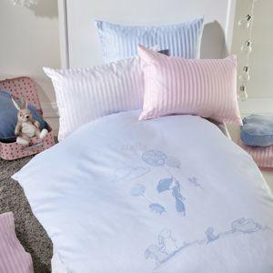 Stella Ateliers gyermek damaszt ágynemű Oskars Abenteuer, kék, 100 x 135 cm, 40 x 60 cm
