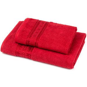 Strook törölköző és kéztörlő szett, piros, 70 x 140 cm, 50 x 90 cm