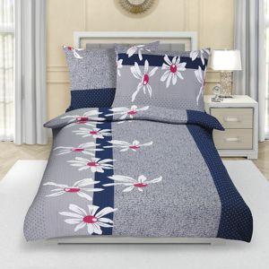 Százszorszép pamut ágynemű, szürke, 140 x 220 cm, 70 x 90 cm