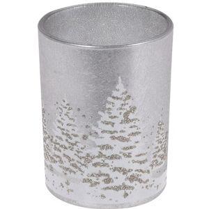 Téli táj üveg gyertyatartó gyertyával, 10,5  cm, szürke