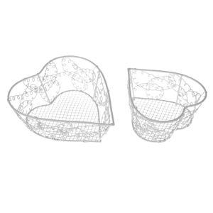 Wire heart fém dekorkosár készlet, 2 db-os